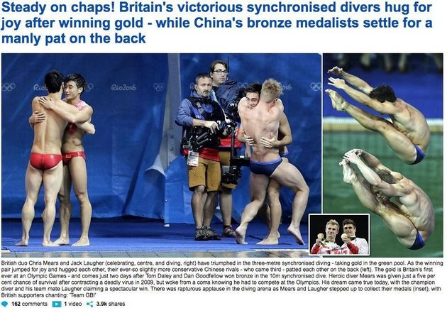 Today's MailOnline contrasted the reactions of the British and China diving