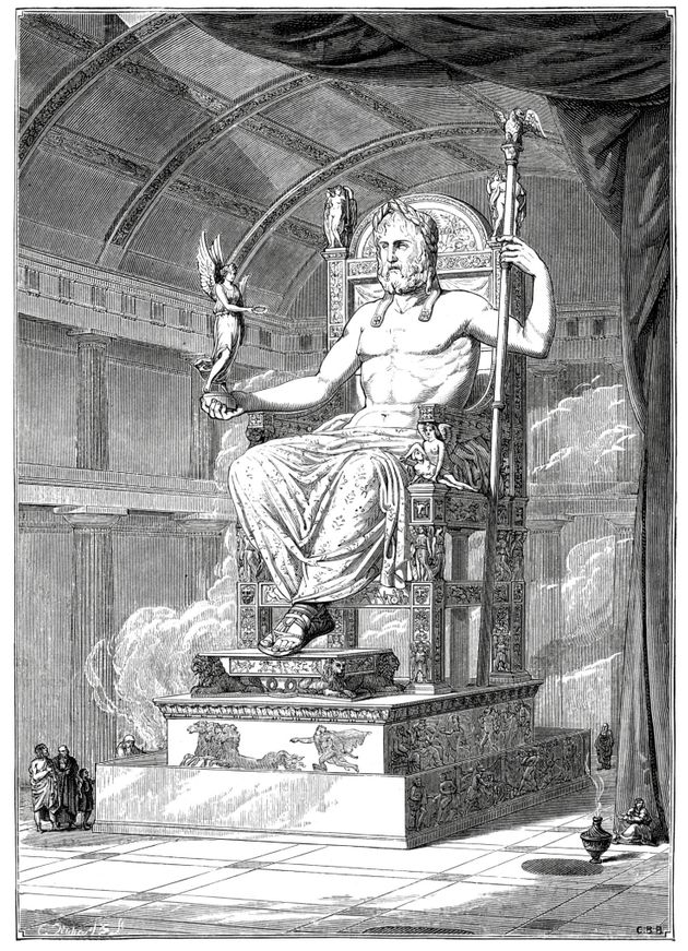 Vintage engraving from 1879 of the Statue of Zeus at