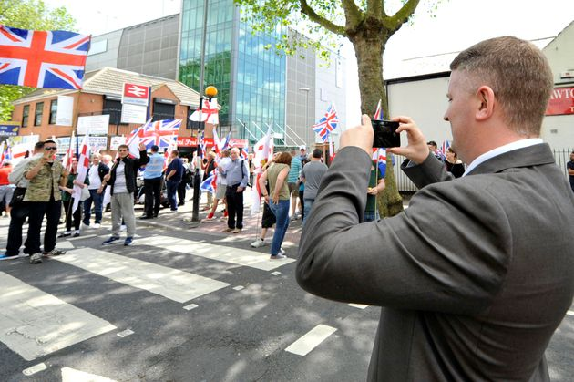 Paul Golding joins British First group protest march at Bury Park on June 27, 2015 in