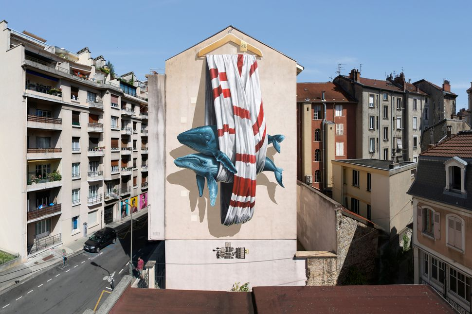 """Ordering machine"" mural painting for Grenoble Street Art Fest in Grenoble, France, 2016."
