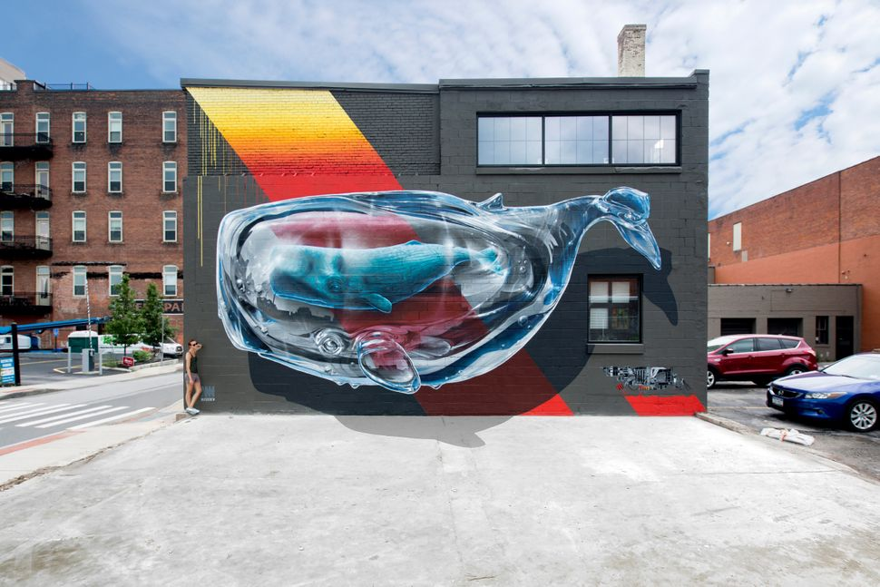 """Detecting machine n.1"" mural painting for ""Wall Therapy""<strong>&nbsp;</strong>in Rochester, New York, co-curated by Urban N"