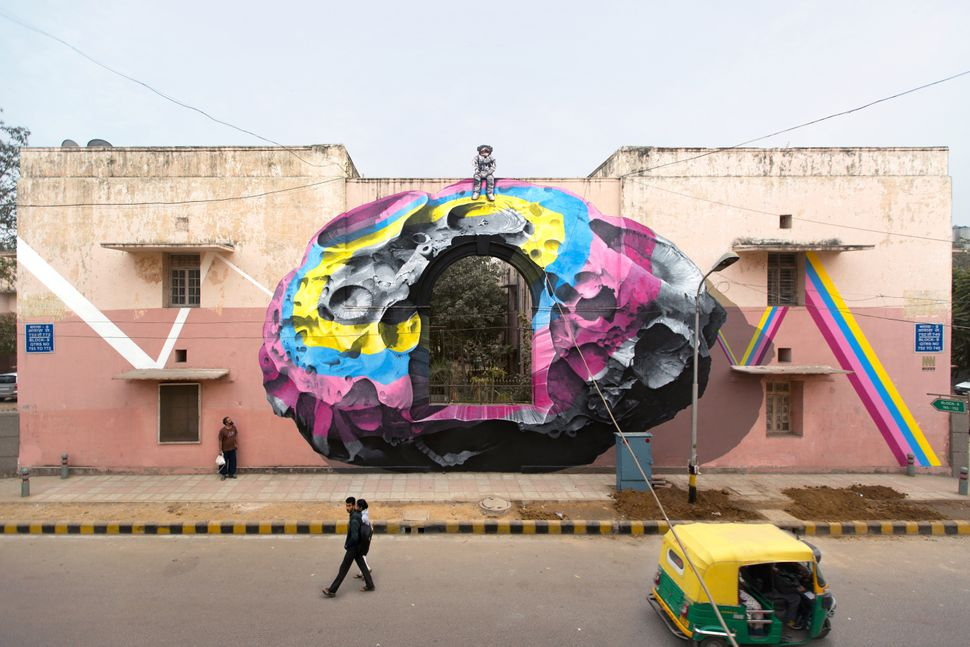 """See through / see beyond"" mural painting and installation for St+Art India in New Delhi in January 2016."
