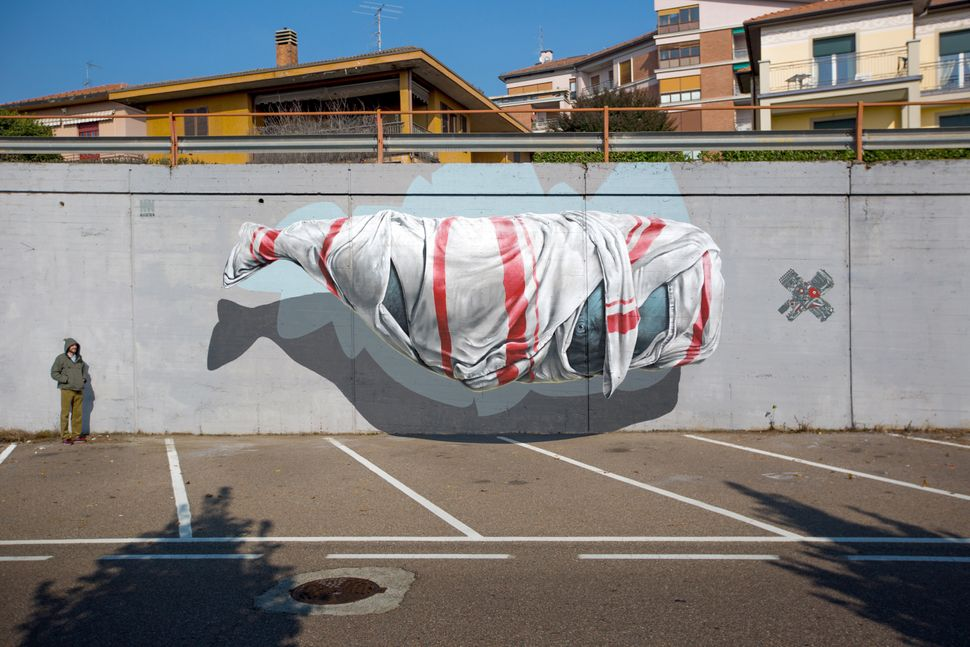 """Signalling machine"" mural painting for Urban Canvas in Varese, Italy, in 2015."