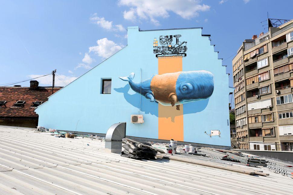 """Imitation of Life no9"" (or ""Evolutive Machine no1"") mural painting realized in the context of Mikser Festival in Belgrade, S"