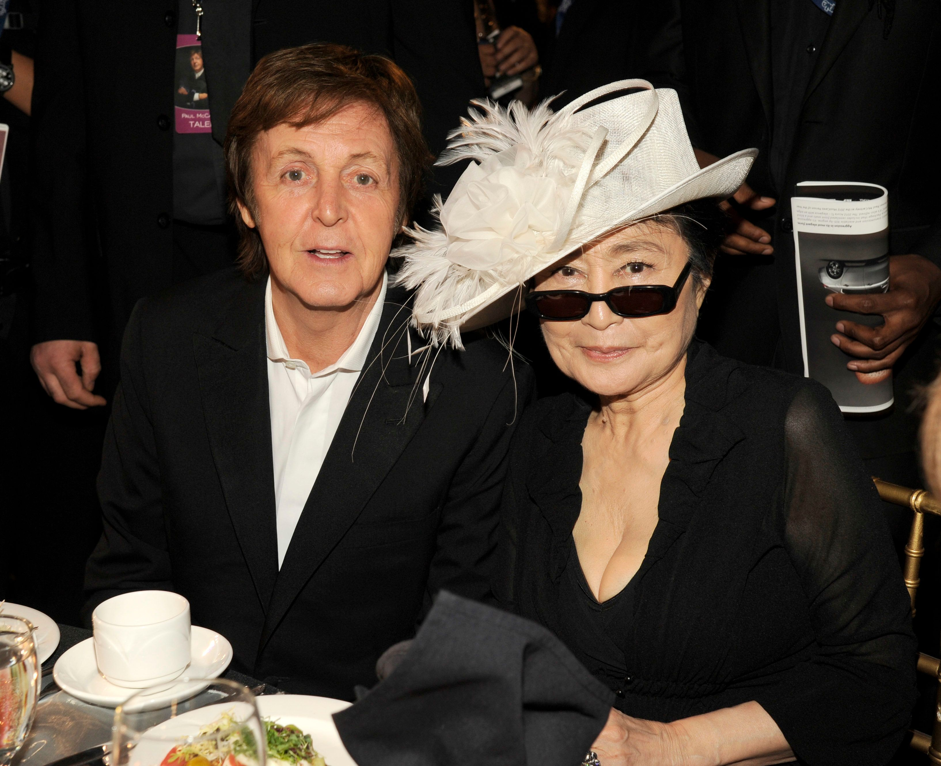 LOS ANGELES, CA - FEBRUARY 10: Honoree Sir Paul McCartney and Yoko Ono attend The 2012 MusiCares Person Of The Year Gala Honoring Paul McCartney at Los Angeles Convention Center on February 10, 2012 in Los Angeles, California. (Photo by Kevin Mazur/WireImage)