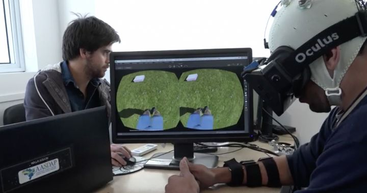 A patient learns to use an avatar to walk in virtual reality.