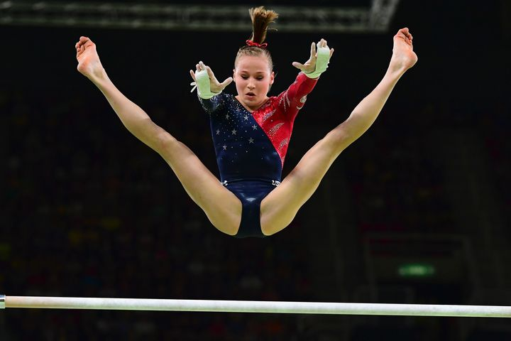 Madison Kocian competes on the uneven bars on Aug. 7.
