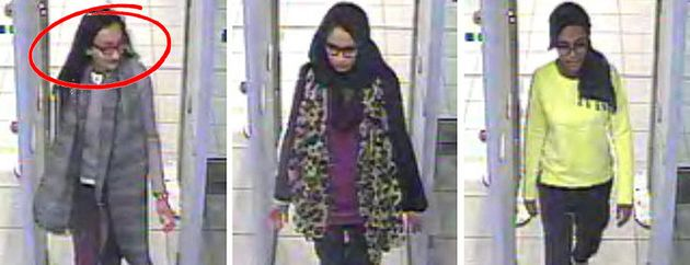 Sultana (left) pictured alongside Shamima Begum (centre) andAmira Abase (right)as they went...