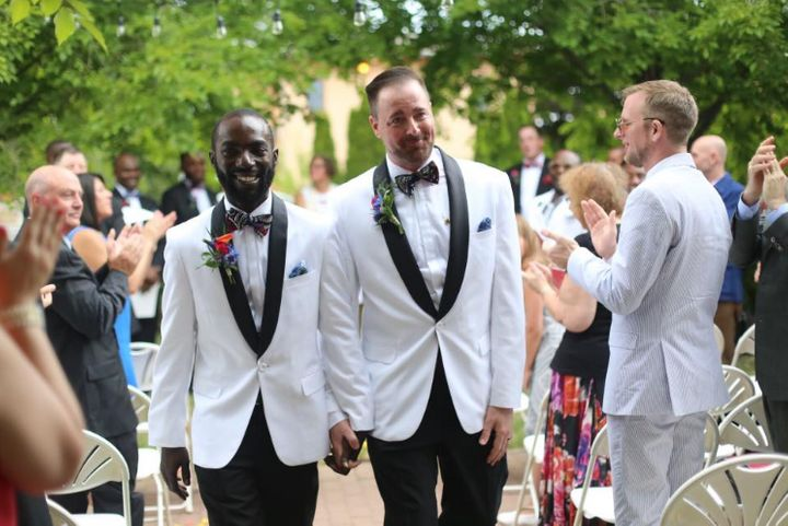 Eric Shoen-Ukre and David Shoen-Ukre walked down the aisle for the first time as a legally married couple.