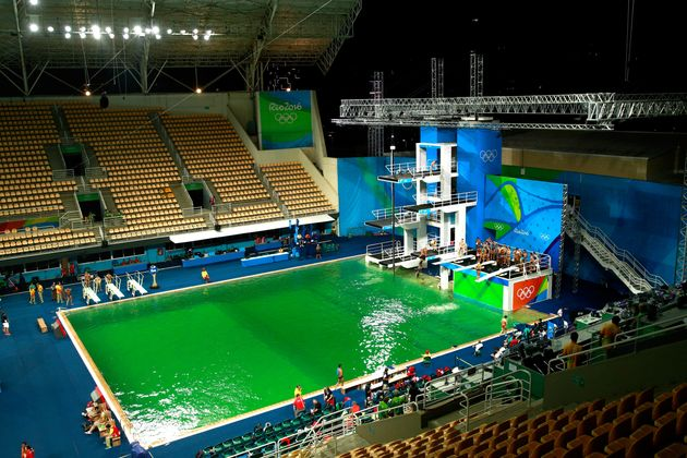 This photo of the Olympicdiving pool on Tuesdayshows the water at the peak of its green