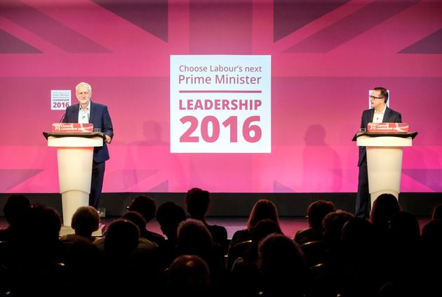 Jeremy Corbyn (left) and Owen Smith (right) debate at the second Labour leadership