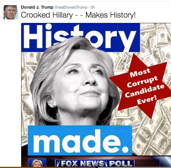 Trump received criticism for featuring the six-pointed star associated with Judaism in a tweet about Hillary Clinton's c