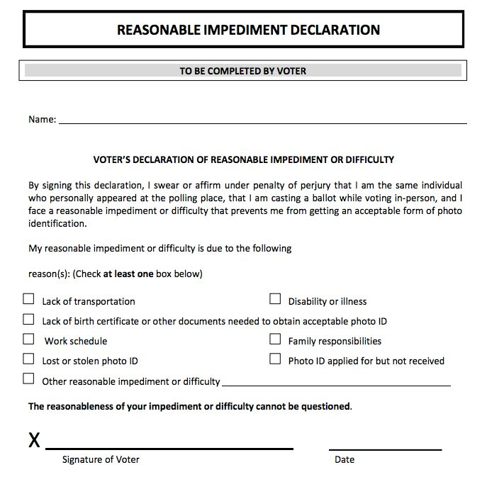Affidavit that Texas voters who lack the required voter ID may present in order to cast a ballot.