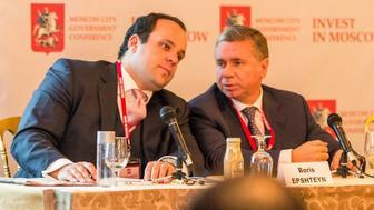 Boris Epshteyn, a Trump campaign advisor and surrogate, speaking to Sergey Chemerin, a Moscow city official, at a panel promoting investment in Moscow in Oct. 2013.