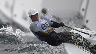 Belgium's Evi van Acker competes in the Laser Radial Women sailing class on Marina da Gloria in Rio de Janerio during the Rio 2016 Olympic Games on August 10, 2016. / AFP / WILLIAM WEST        (Photo credit should read WILLIAM WEST/AFP/Getty Images)