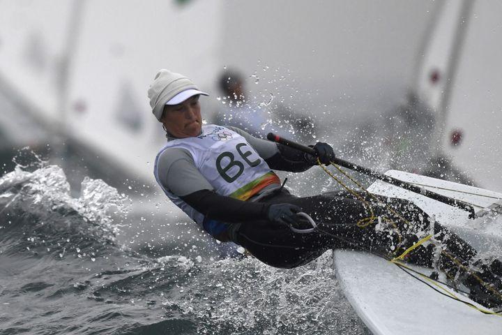 Belgium's Evi van Acker competes in the Laser Radial Women sailing class on Marina da Gloria in Rio de Janerio during the Rio