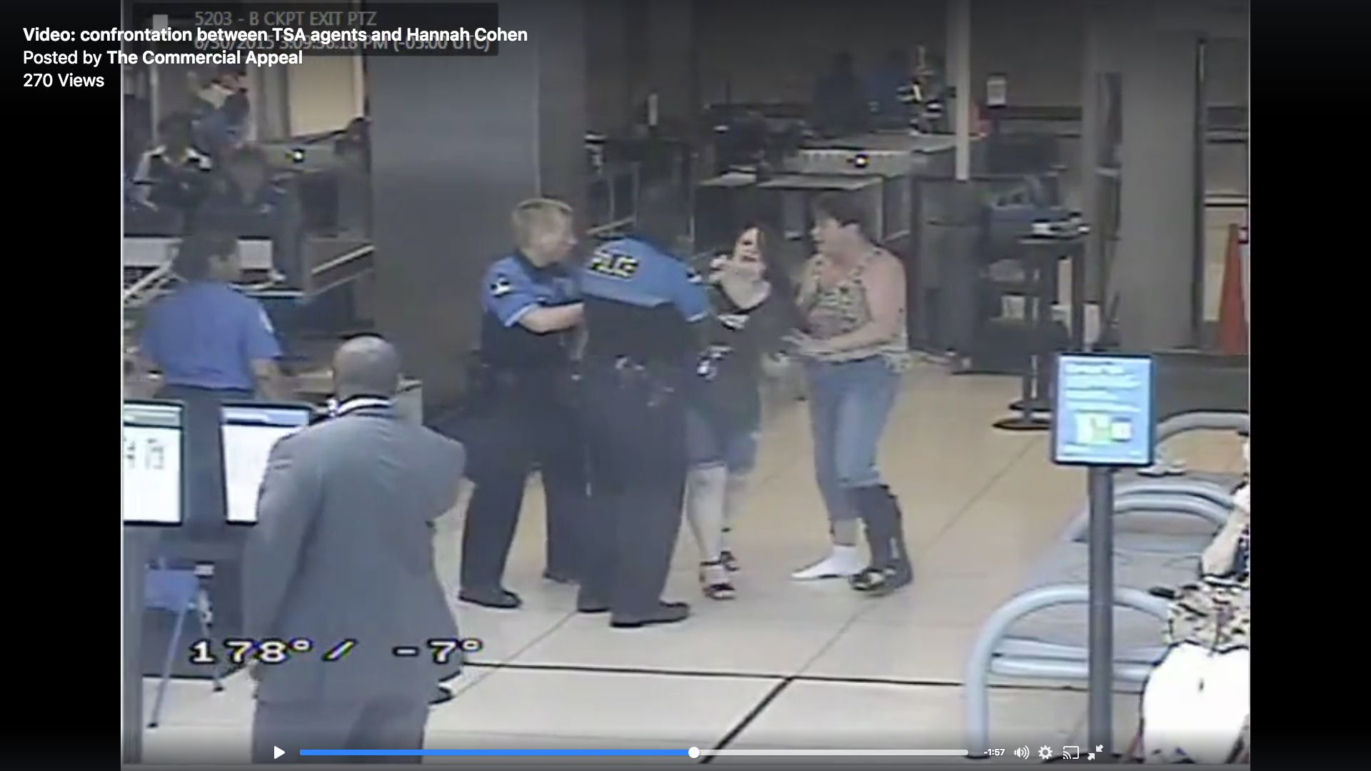 Hannah Cohen, 19, of Chattanooga, Tennessee, is seen during a 2015 confrontation with TSA agents in Memphis.