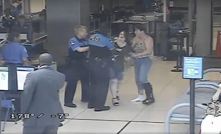 Hannah Cohen, 19, of Chattanooga, Tennessee, is seen during a 2015 confrontation with airport securityagents and airpor