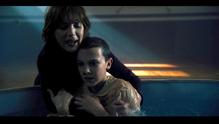 """<strong>""""The Bathtub""""</strong> - Joyce Byers (Winona Ryder) and Eleven (Millie Bobby Brown) cling&nbsp;to one another in Epis"""