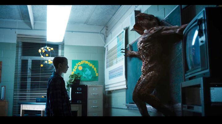 Eleven (Millie Bobby Brown) faces the Demogorgon.