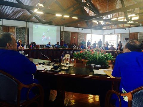 The Pacific Islands Forum Ministers meeting watching the game during a high level session, as you do.