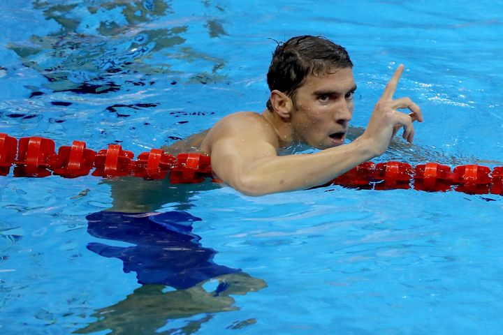 Phelps celebrates after winning the 200m individual medley in Rio.