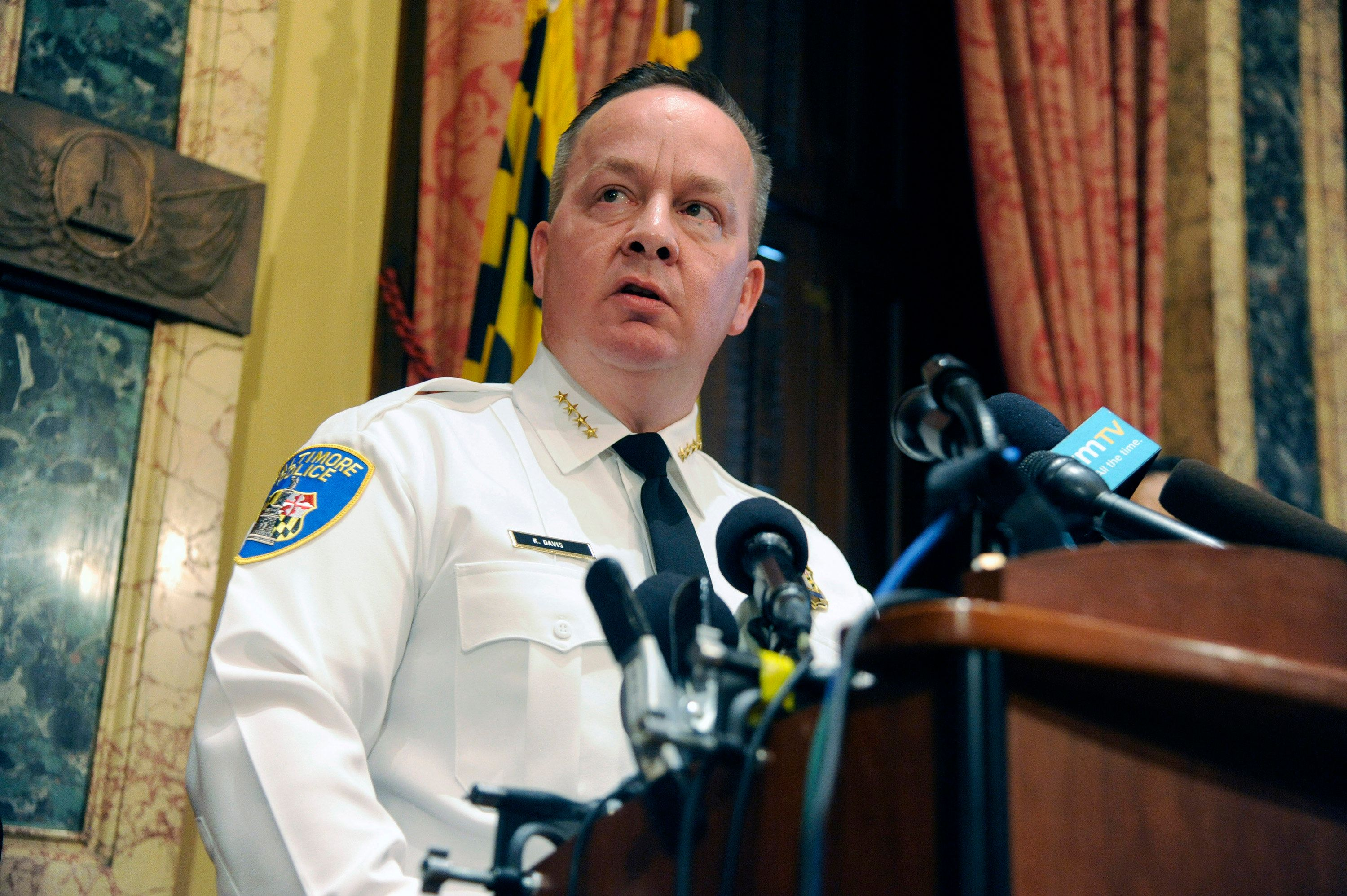Baltimore Police Commissioner Kevin Davis delivers a statement during a news conference at City Hall in response to a Justice Department report that finds the Baltimore CIty Police Department has routinely violated the constitutional rights of residents Wednesday, Aug. 10, 2016 in Baltimore, Md. (Kim Hairston/Baltimore Sun/TNS via Getty Images)