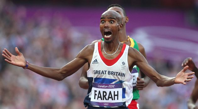 Mo Farah reacts to his gold medal win at London