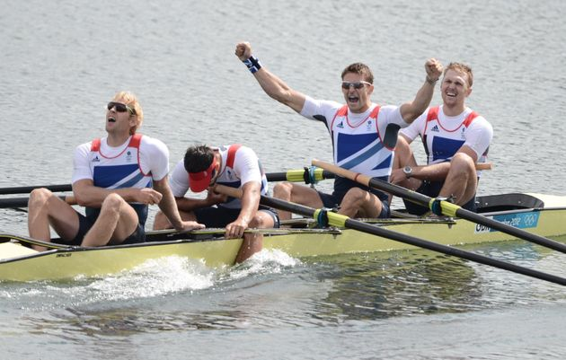 (L-R) Alex Gregory, Pete Reed, Tom James and Andrew Triggs Hodge react to their 2012 gold medal