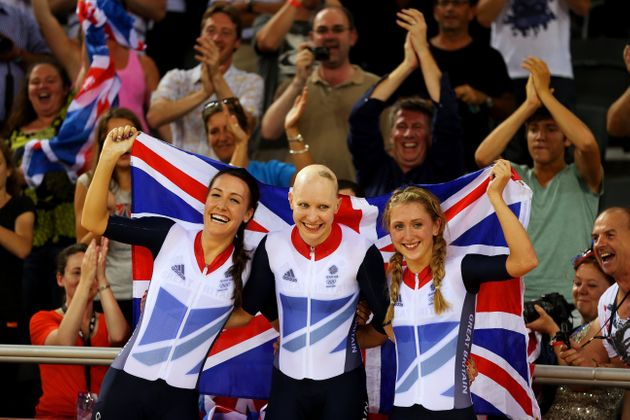 (L-R) Dani King, Joanna Rowsell, and Laura Trott won gold in the women's team