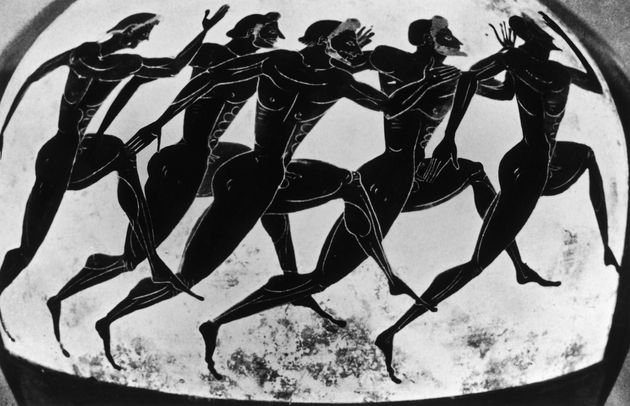 Olympic runners depicted on an ancient Greek vase given as a prize in the Panathenaea, c525