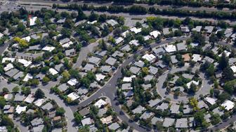 Neighborhood laid out in a circular pattern. Palo Alto, California, USA.