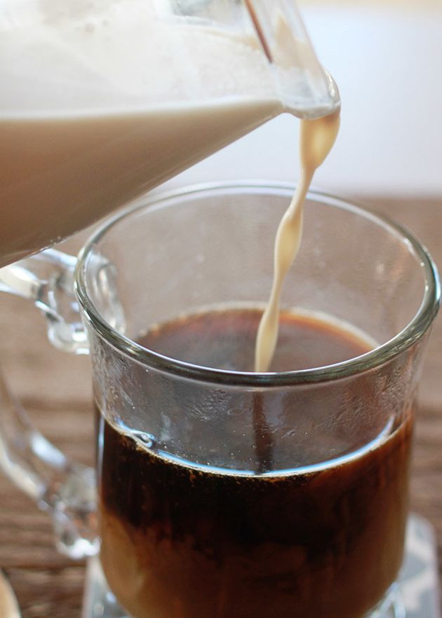 Homemade almond milk coffee