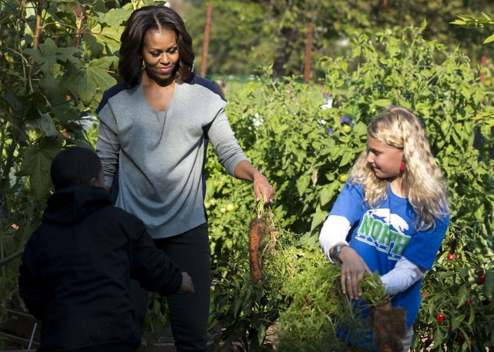 First Lady Michelle Obama, shown here harvesting veggies at the White House in 2013, has championed updated nutrition st
