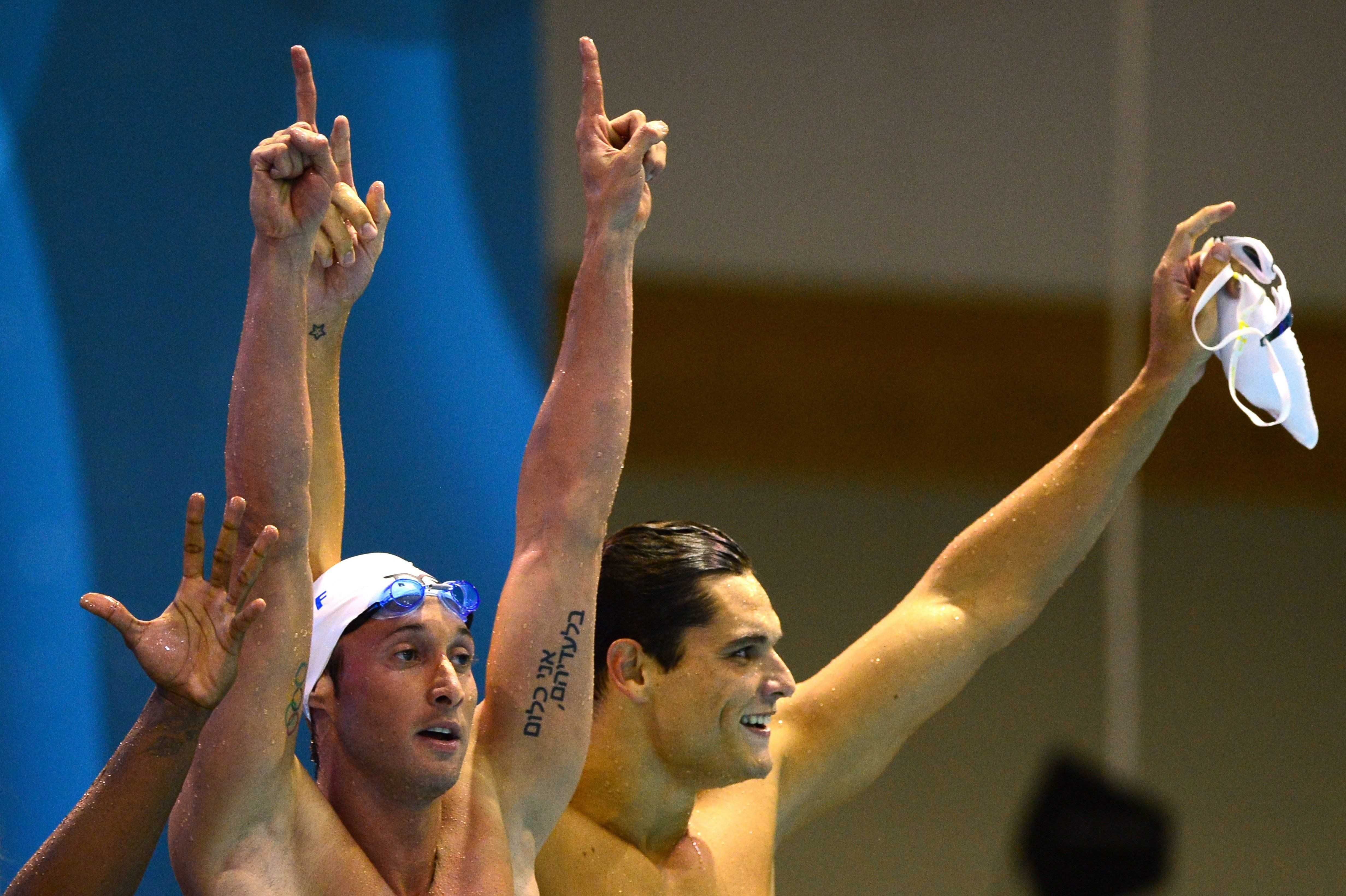 Gilot's tattoo can be seen in this photo from the 32nd LEN European swimming championships on August 18, 2014 in Berlin.