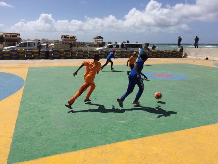 Young people playing sports at the Mogadishu One Stop Youth Centre.