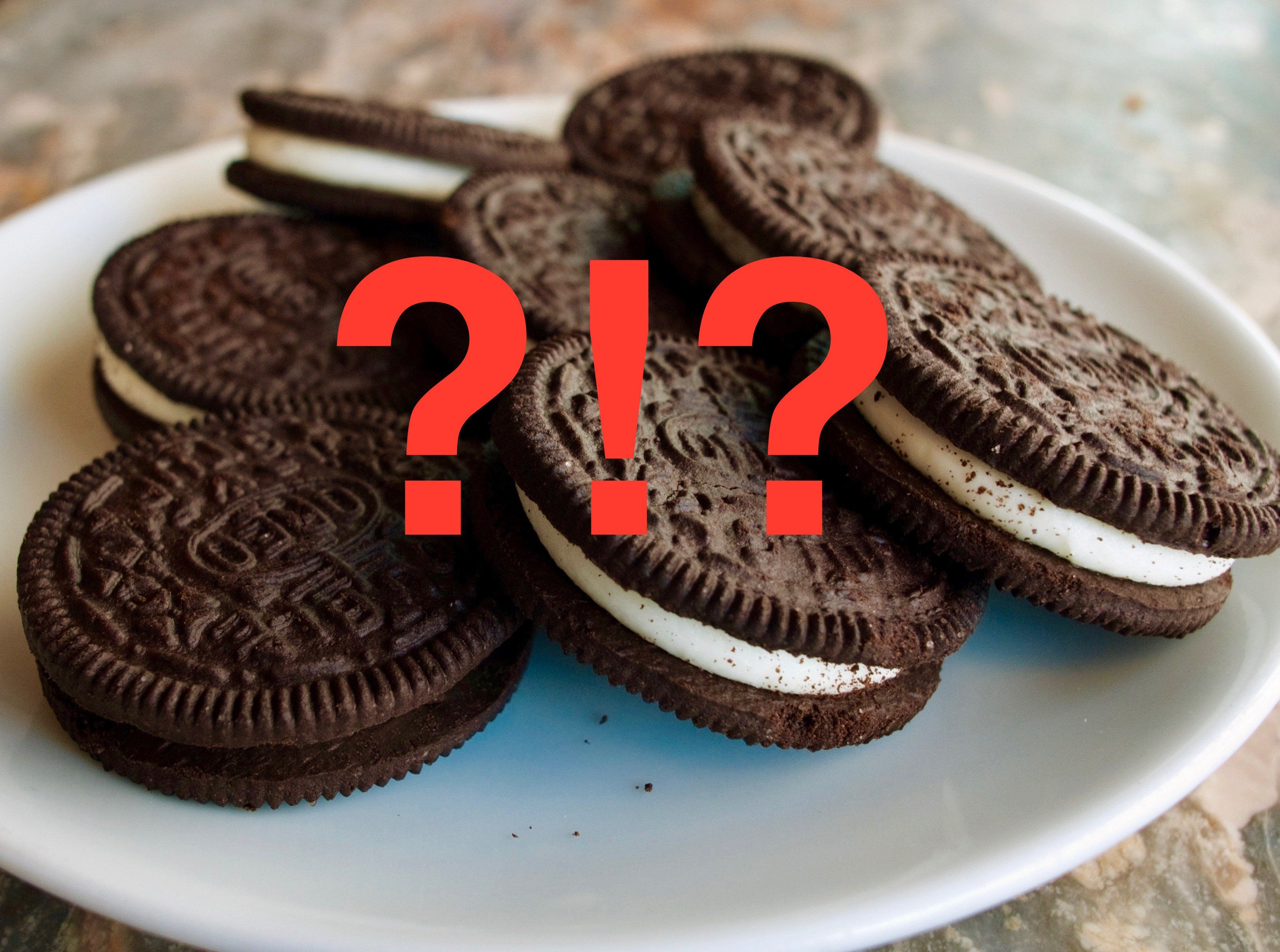 """A March 7, 2012 photo shows a plate of Oreo cookies in Washington, DC.  Technically they're """"chocolate sandwich cookies,"""" a baked concoction of sugar, vitamin-enriched flour, canola oil, high-fructose corn syrup and, at the bottom of the list of ingredients, chocolate. But the Oreo cookie -- first baked in New York city 100 years ago on March 6, 2012 -- is much more than that. It's an American icon, the best-selling cookie in the nation, with plenty of fans around the world to boot. AFP PHOTO/Mandel NGAN (Photo credit should read MANDEL NGAN/AFP/Getty Images)"""