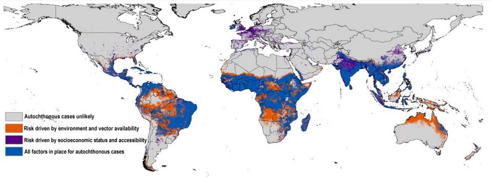 This map estimates the risk of local Zika virus spread around the