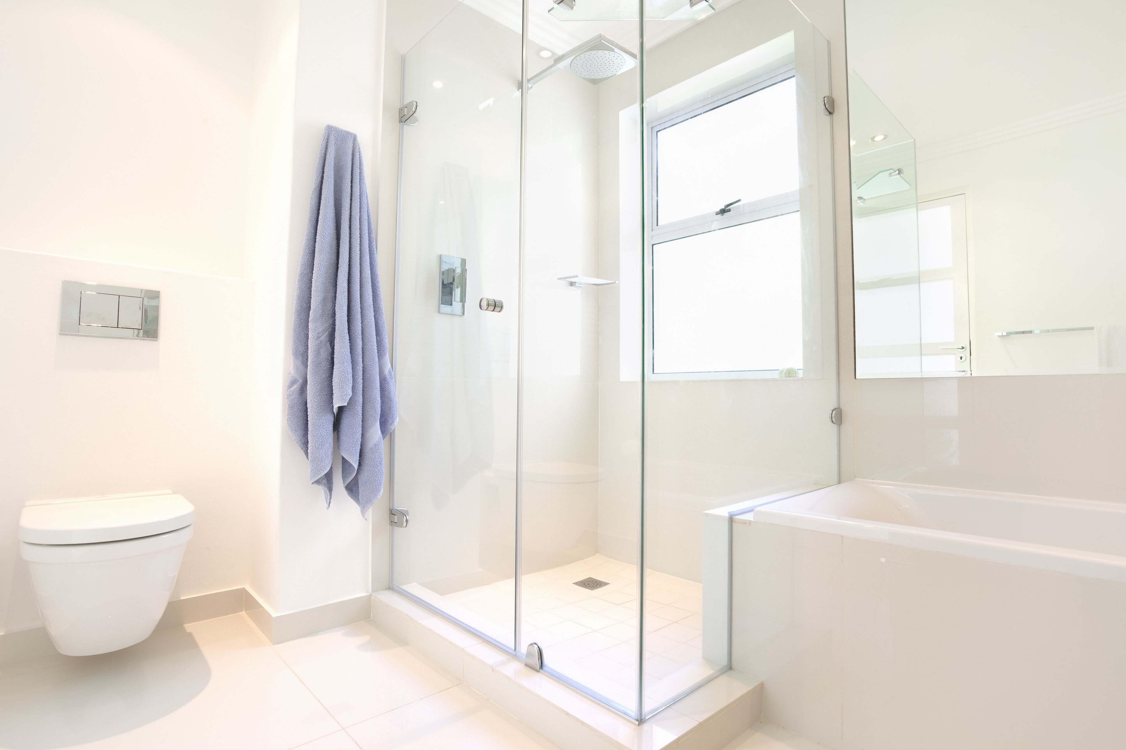 An all white bathroom showing the bath, shower and toilet with dual flush.