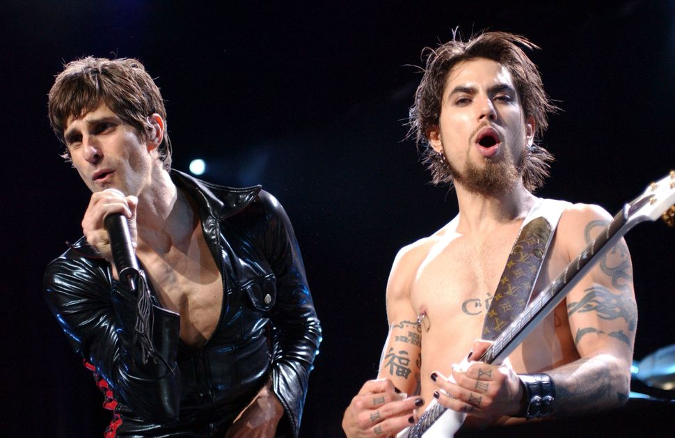 Perry Farrell and Dave Navarro from Jane's Addiction perform on July 12, 2003, at Lollapalooza in Chicago, Illinois.