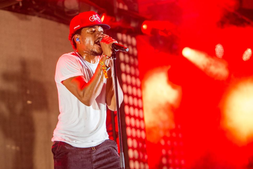 Chance the Rapper performs during the 2014 Lollapalooza at Grant Park in Chicago, Illinois.