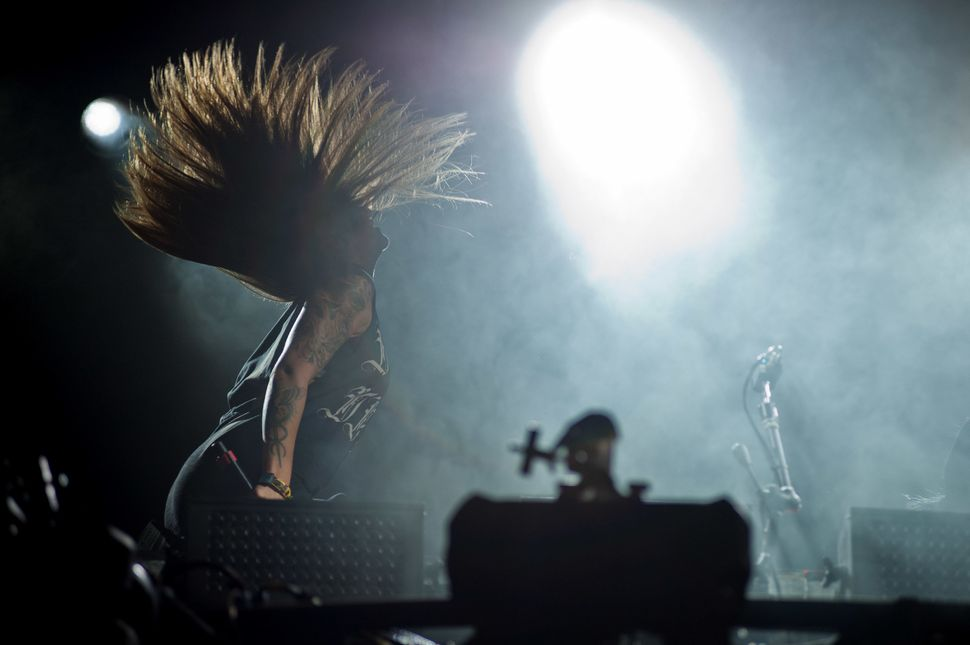 Yasmine Yousaf of Krewella performs at Lollapalooza 2014 at Grant Park on Aug. 2, 2014, in Chicago, Illinois.