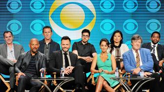 BEVERLY HILLS, CA - AUGUST 10:  (L-R) Chris Harris, Chris Williams, Mike Gibbons, Joel McHale, Christopher Mintz-Plasse, Susannah Fields, Christine Ko, Stephen Fry and Shaun Brown attend the CBS 2016 Summer TCA Panel at The Beverly Hilton Hotel on August 10, 2016 in Beverly Hills, California.  (Photo by Jerod Harris/WireImage)