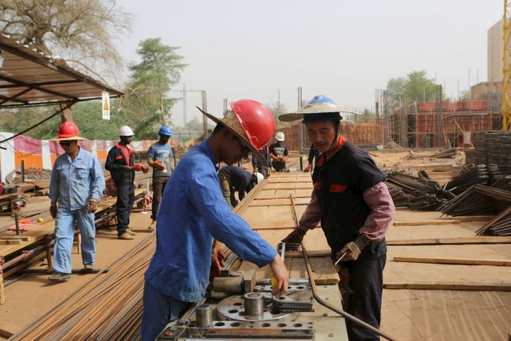 Chinese and Nigerien construction workers in Niamey, Niger, on February 22, 2016.