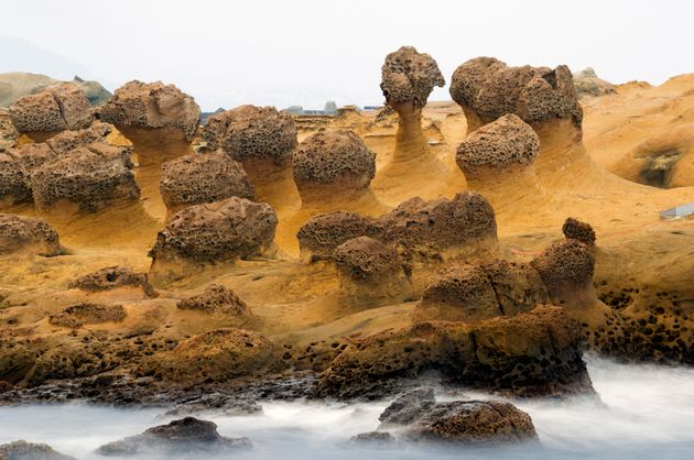 Yehliu Geopark is famous for the coastal rock formations carved by sea