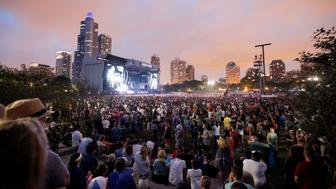 CHICAGO, IL - JULY 30:  A view of the Samsung Stage at Lollapalooza 2016 - Day 3 at Grant Park on July 30, 2016 in Chicago, Illinois.  (Photo by Gabriel Grams/Getty Images for Samsung)
