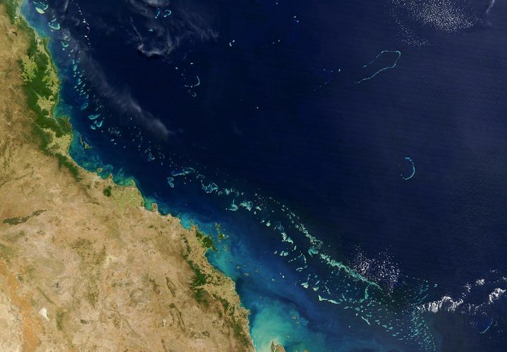 The Great Barrier Reef as seen from a NASA satellite.
