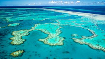 Australia, Queensland, Whitsundays, Great Barrier Reef Marine Park, Aerial view of coral formations at Hardys Reef