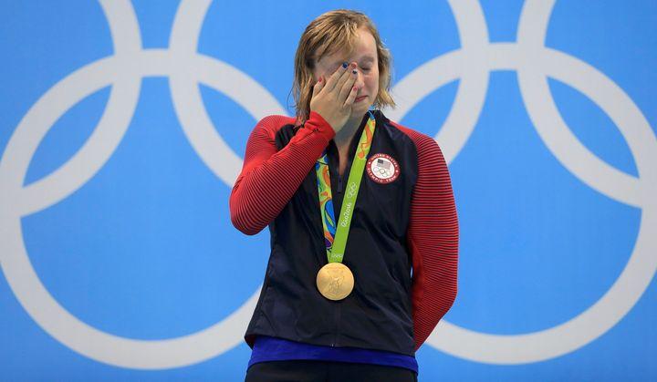 Gold medallist Katie Ledecky reacts after winning gold.