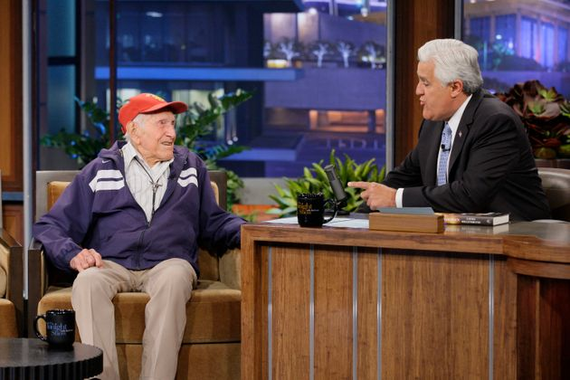 Louis Zamperini - then 95 - during an interview with host Jay Leno in